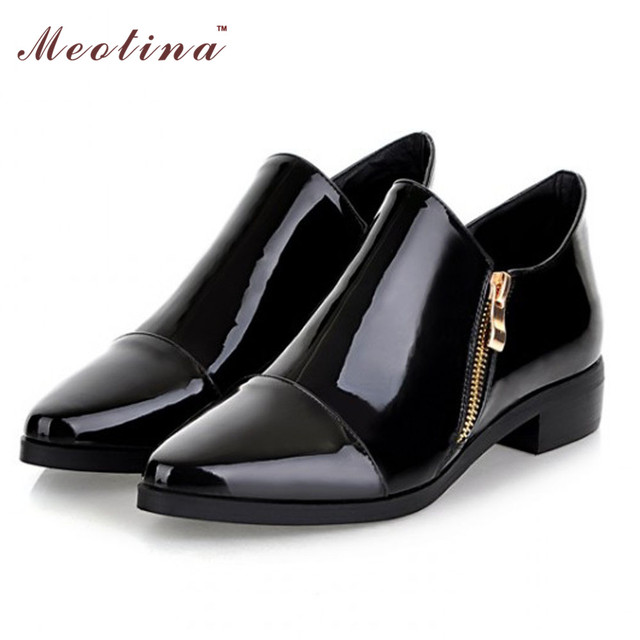 Meotina Women Shoes Pointed Toe Flat shoes Fashion Shoes Spring Pattent Leather Ladies Shoes Zip Black Plus size 9 10