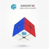 Nieuwe Collectie GAN 249 2x2x2 V2 Rubiks cube 2x2 Speed Cube Magic Puzzel Professionele driehoek Vorm Twist Educatief Kid Speelgoed