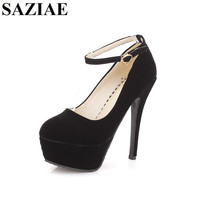 2016Hot Sales Sexy Blue Red Black Suede Platform Ankle Strap High Heels Shoes Party Woman Pumps