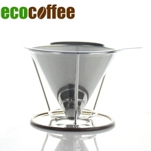 ecocoffee 304 stainless steel pour over cone dripper with cup stand v60