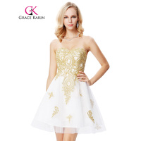 Golden Appliques Short Prom Dress 2016 White Sweetheart Robe De Soiree Knee Length New Arrival Formal