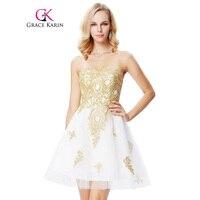 Oro Apliques Corto Vestido de Fiesta 2018 Blanco Longitud de La Rodilla Sweetheart Robe De Soirée Nueva Llegada Vestidos de Fiesta Formal Vestido de Noche