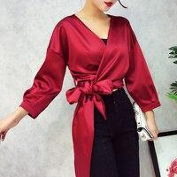 الخريف أزياء المرأة مزاجه v طوق عالية الجودة القمصان قطعة واحدة من الساتان القوس التعادل طويلة الأكمام بلوزة + تنورة دعوى