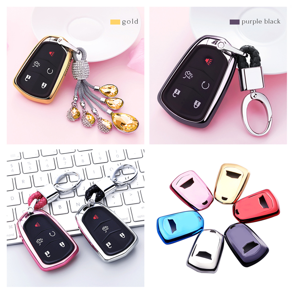 Auto Decoration For Cadillac Xt5 Ats Xts Srx Ct6 Car Remote Key Case Protective Cover Crystal Pendant Buckle Shell Keychain Elegant And Sturdy Package