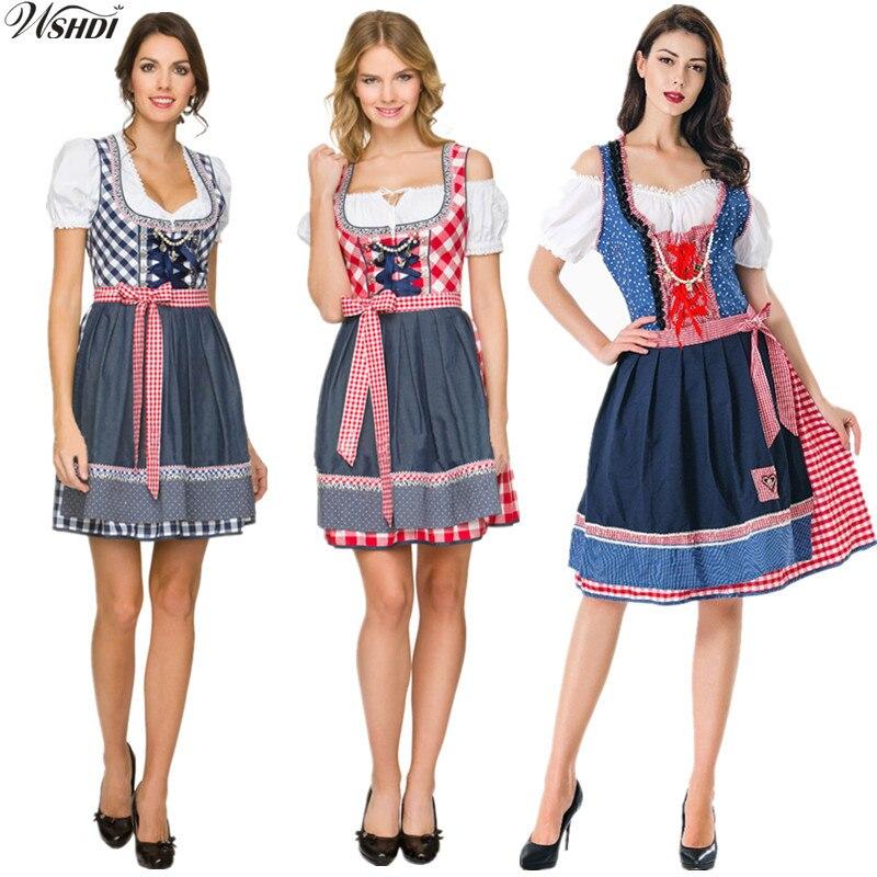 Fashion Oktoberfest Costume Octoberfest Bavarian German Maid Wench Costume Party Short Sleeve Fancy Dress Dirndl For Adult Women