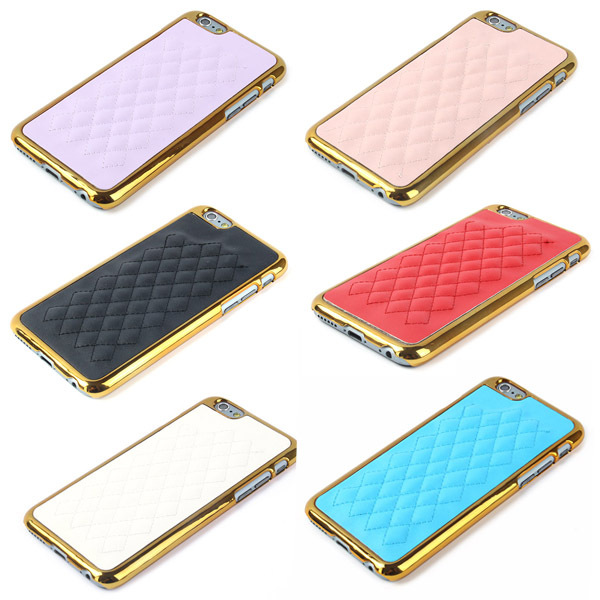 Faux Leather Lattice Pattern Gold Frame Case Cover Shell Mobile Phone Cases For iphone 6 With Factory Price