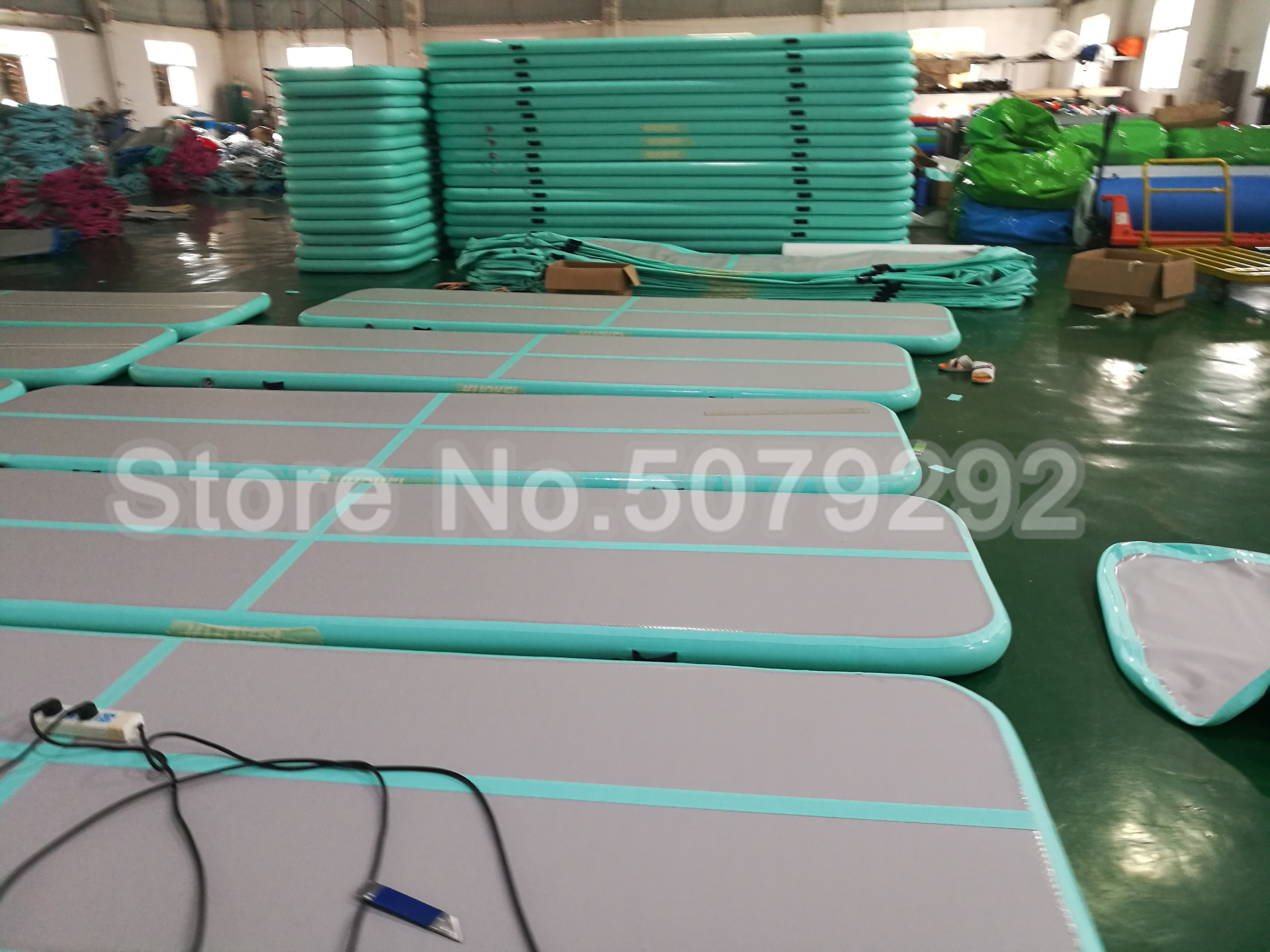 Free Shipping Inflatable Mint Green Gym Mat Mini Size 3*1*0.1M Airtrack Mat For Gymnastics Customized Inflatable Bouncing Track
