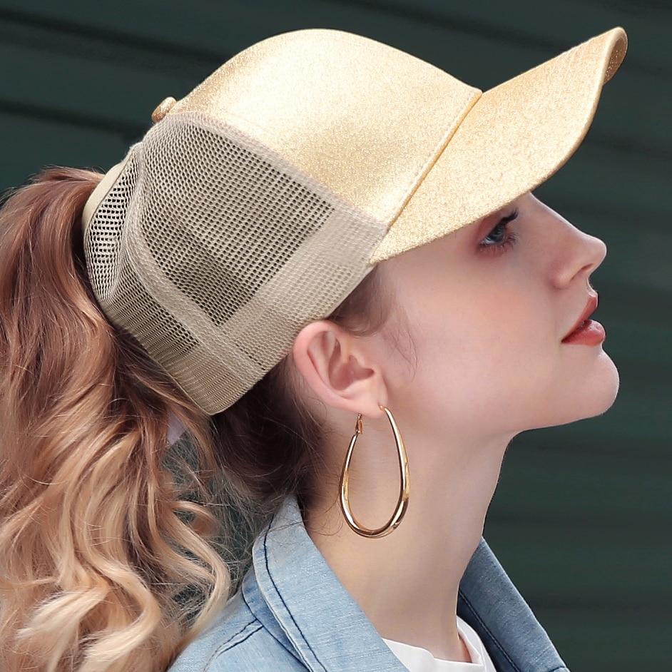 b299b9db932be Glitter Ponytail Baseball Cap Women Snapback Summer Mesh Hat Female Messy  Bun Hats Casual Adjustable Streetwear