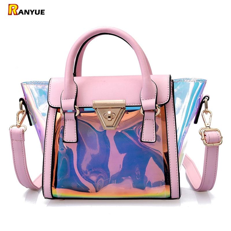 Trapeze Women Bag Set Laser Holographic Jelly Clear Transparent Bags Women Handbags Pu Leather+PVC Totes Shoulder Bags Beach Bag