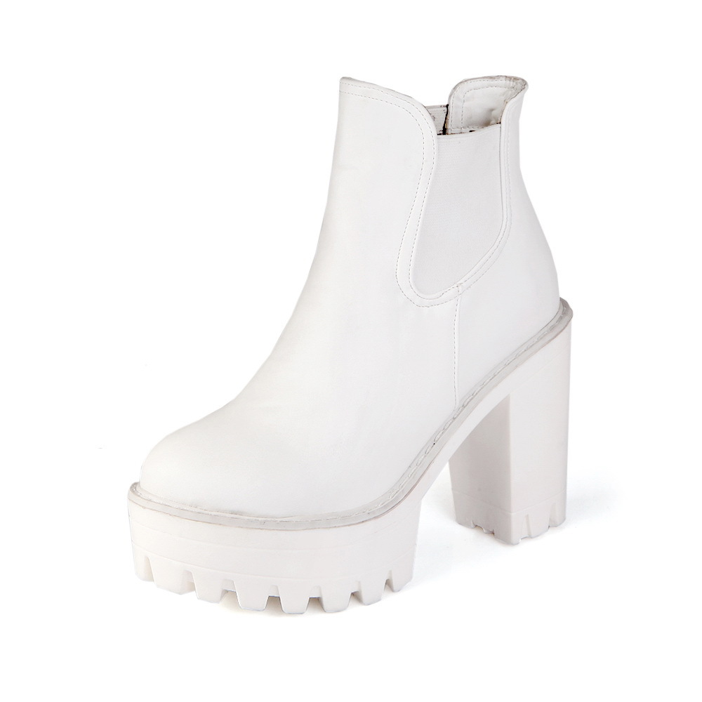 White Lace Up Chunky Sole Platform Shoes