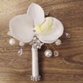 Private custom made senior Rhinestone groom corsages  Crystal pearl brooch boutonniere  White Phalaenopsis Men best man corsage