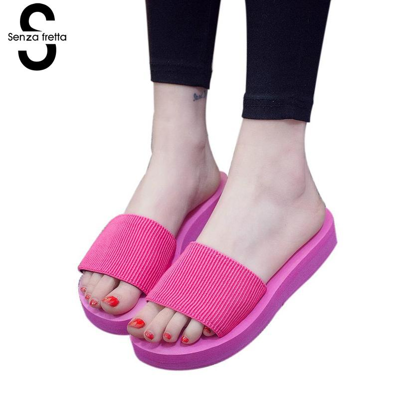 Senza Fretta Women Slippers Summer Female Sandals Slipper Outdoor Flip-flops Beach Female Casual Beach Slippers Pantufa Oversize