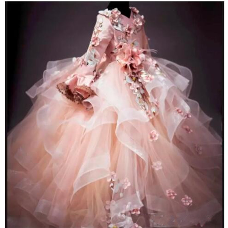Luxury Flower Girl Dresses Floral Applique V-Neck Lace-Up Fluffy Ball Gown For Birthday Pretty Communion Dress Kids Formal Wear