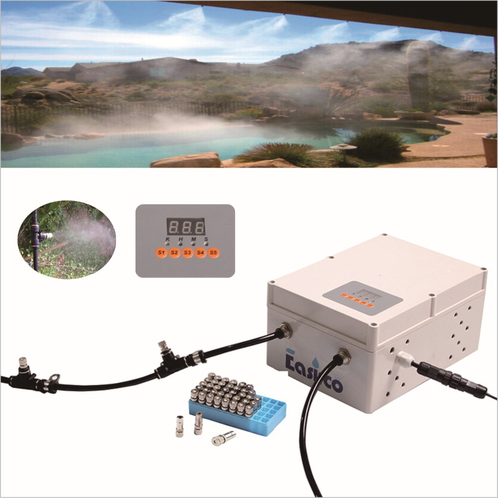 40pcs nozzle outdoor cooling system with Solenoid valve and programmable cycle timer (water resource from water tape)