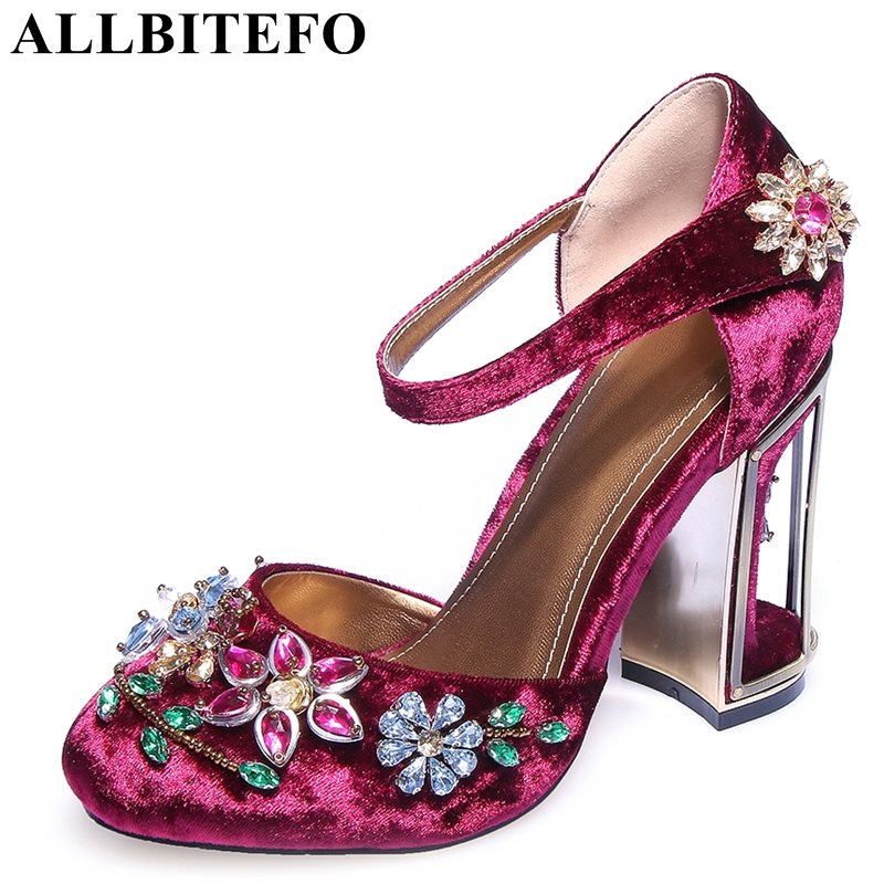 ALLBITEFO large size:34-43 flock thick heel women boots fashion brand Rhinestone high quality spring pumps shoes ladies shoes цена 2017