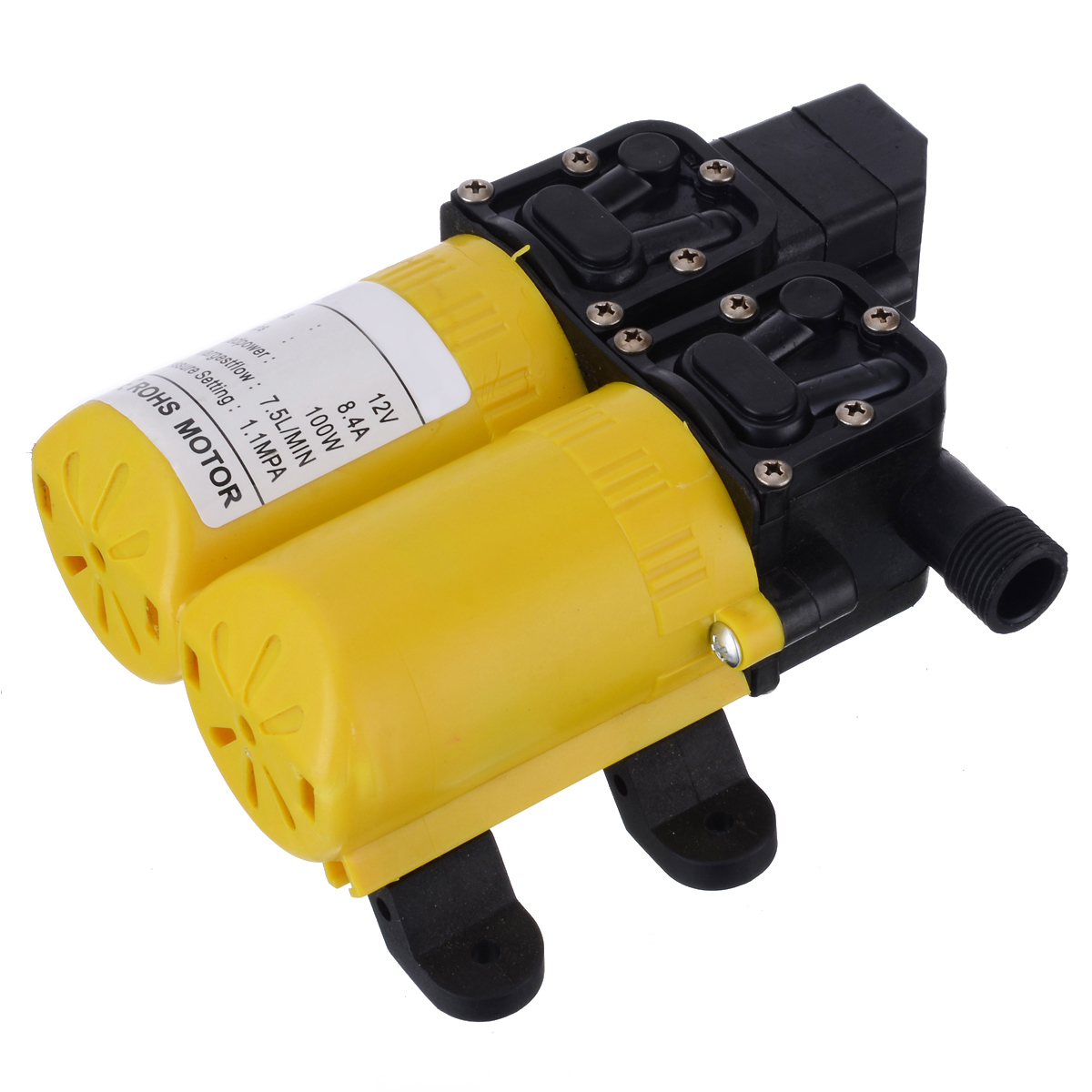DC 12V 100W Auto Self Priming Water Pump High Pressure Diaphragm Small Safe Pump Boat Caravan Marine Motor