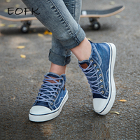 EOFK New Fashion Spring Women High Top Canvas Shoes Woman Ladies Casual Fabric Denim Ankle Lace Up Canvas Vulcanized Shoes