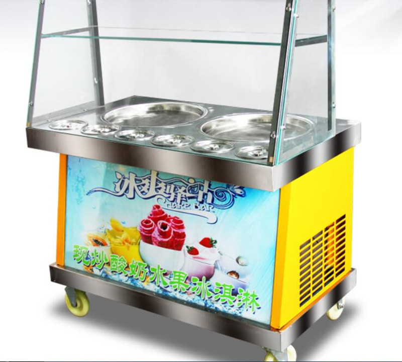 double pan 6 buckets fried ice cream roll machine, double compressor Fried ice pan machine,R22 fry ice machine with LED lighting ce fried ice cream roll machine fried ice pan machine one pan with 6 buckets fry ice machine r22 r404a r401a accept cunstomize