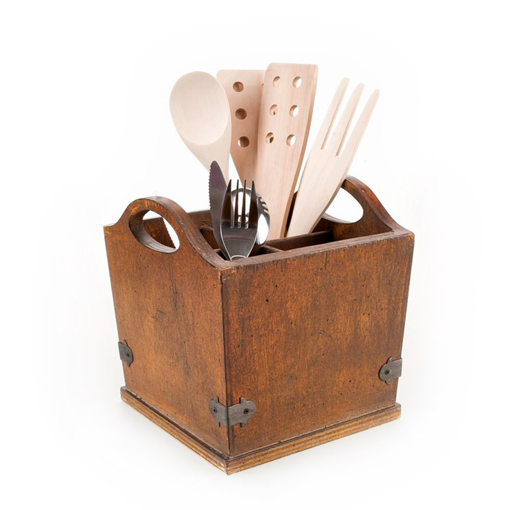 Utensilios De Cocina De Madera Organizador 4 Secciones Estilo
