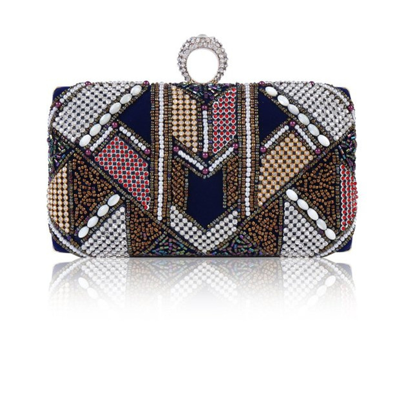 ФОТО Free Shipping New 2017 Colors Beaded Mini Party Dinner Bags Day Clutches Evening Bag RQR122