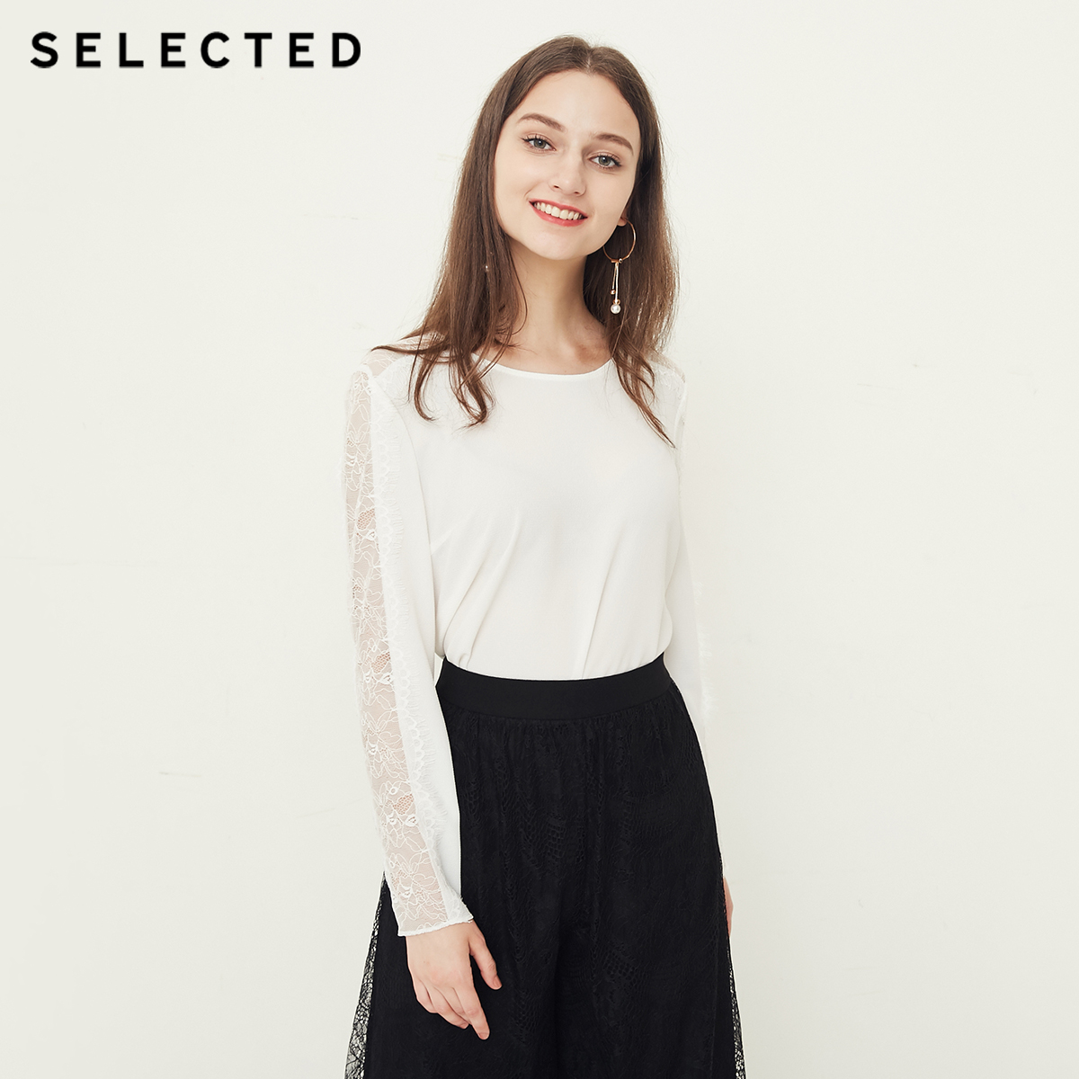 SELECTED Women s Round Neckline Lace Splice Long sleeved Tops S 4183W4503