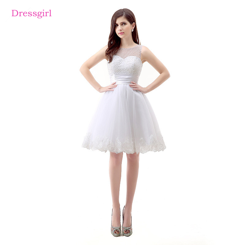 White 2019 Homecoming   Dresses   A-line Short Mini Tulle Lace Pearls Elegant   Cocktail     Dresses
