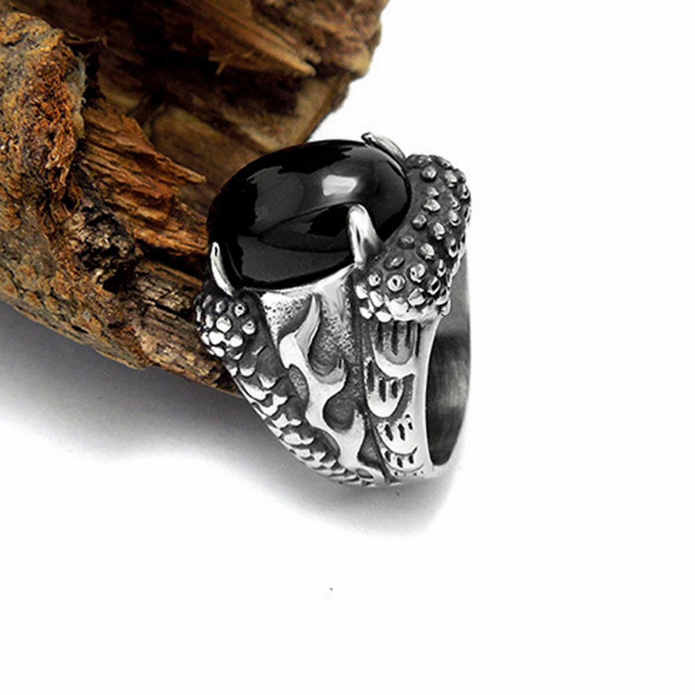Perfect Black Onyx Sardonyx Dragon's Claw Titanium Stainless Steel Men's  AE61