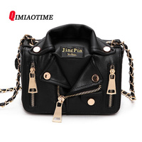 QIMIAOTIME The New European Locomotive Style Street Punk Small Chain Bag Shoulder PU Leather Clothes Style Hand bags