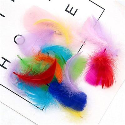 Натуральные перья лебедя 4-7 см 1-2 дюйма маленькие плавающие Шлейфы гусиное перо цветной шлейф для украшения рукоделия 100 шт - Цвет: dark color mix 100p