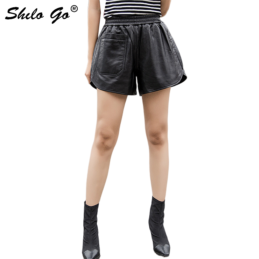 Streetwear Leather Shorts Women Casual Elastic High Waist Sheepskin Genuine Leather Wide Leg Shorts Front Pocket Female Shorts