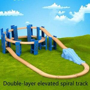 Image 2 - Vías de tren en espiral de plástico para niños, 26 Uds., accesorios de vía férrea de madera, pistas de puente con ajuste, Thoma Biro, Juguetes