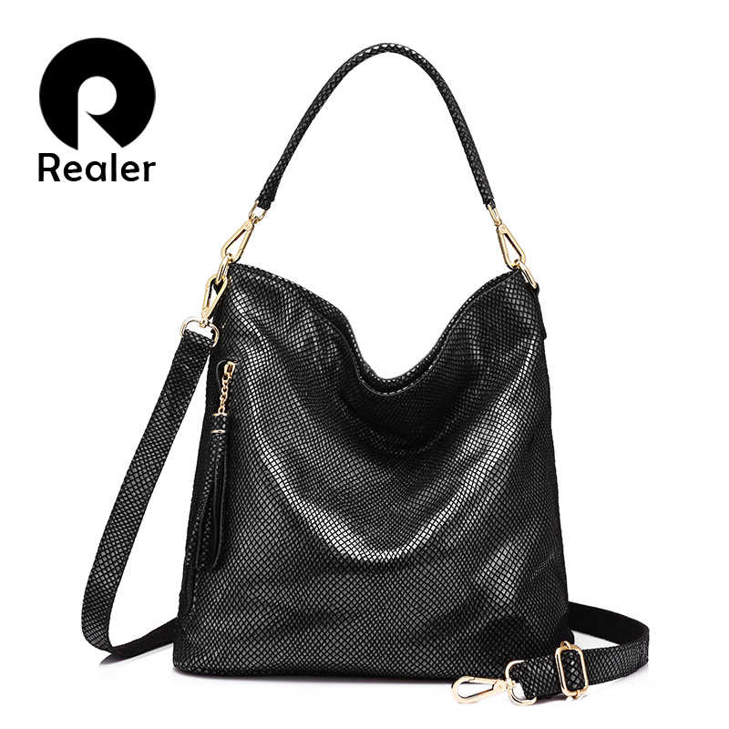 752227d4de REALER brand women genuine leather handbag with tassel female hobo bags  large capacity ladies crossbody bags