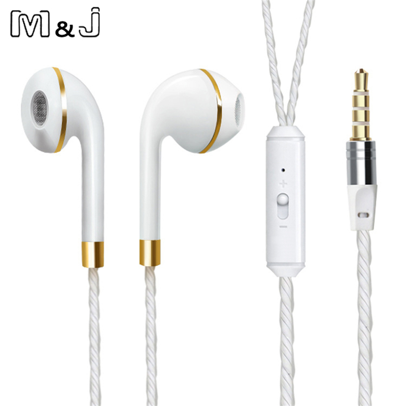 M & J Kabel Earphone Untuk iPhone 6 s 6 5 Xiaomi Hands free Headset Bass Earbud Stereo Headphone Untuk Apple Earpod Samsung ...
