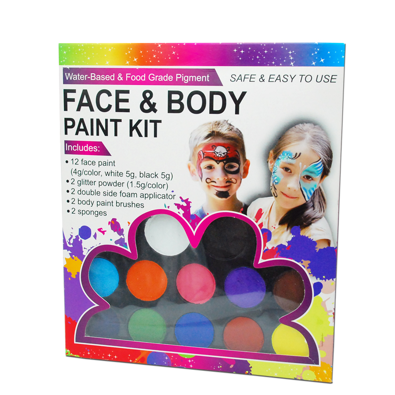 12 Colors Face Body Paint Kits Christmas Parties Makeup Non Toxic Paint 12 Vibrant Colors with Brushes For Kids Face Make up