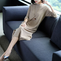 Europe New Pattern Long Sleeve Easy Thin Vent Knitting T-shirt Dress Bodycon Long Fund Rendering Sweater Skirt Big Size