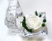 Decorative Preserved Rose Flower Crystal Ring Box Wedding Souvenir Mother's Day Birthday Flowers Gifts Home Decoration