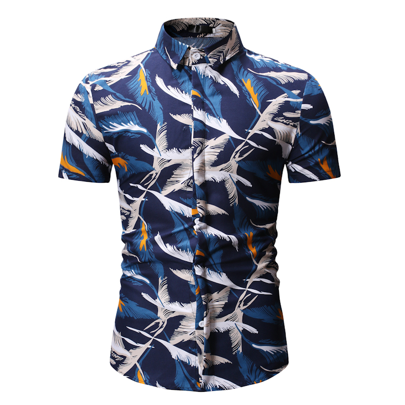 Summer Hawaiian Short Sleeve Shirt Men Cotton Flamingos Floral Printed Casual Dress Shirts Men Clothes 2019 Fashion 3XL