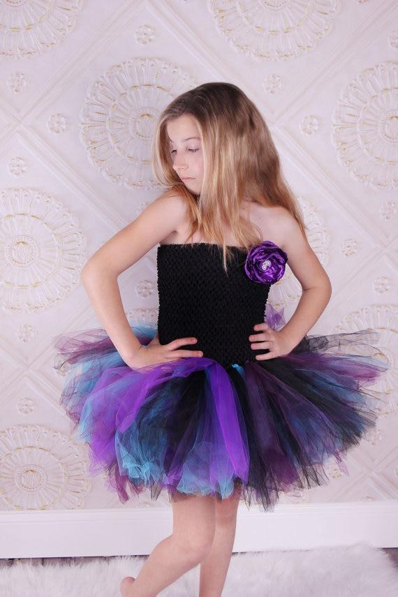 Children Girl Dress Wedding Dress Short Paragraph Strapless Black TOP Colored Gauze Tutu Girls Dance Purple