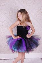 Девушки детей платье свадебное платье короткий параграф без бретелек черный верх цвета марли пачка девушки танцуют фиолетовые цветы