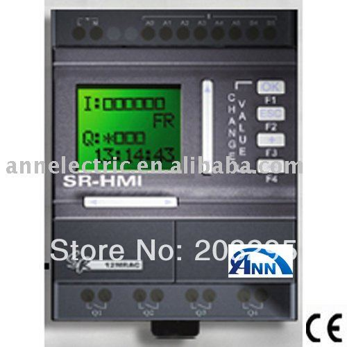 PLC  scada  SR-12MGDC wtith HMI,12-24VDC 8 points DC input (with 6 points analog ) , 4 points transistor output(PNP) plc srt2 od04