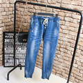 Casual Slim Elastic Jeans Women Denim Trousers Plus Size 3XL 4XL 5XL Pencil Pants Blue KK2187