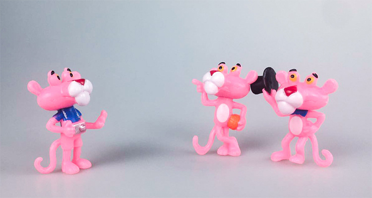 6PCS Pink Panther figure Decor Kids Birthday Lover Gifts Doll Mini figure Decor