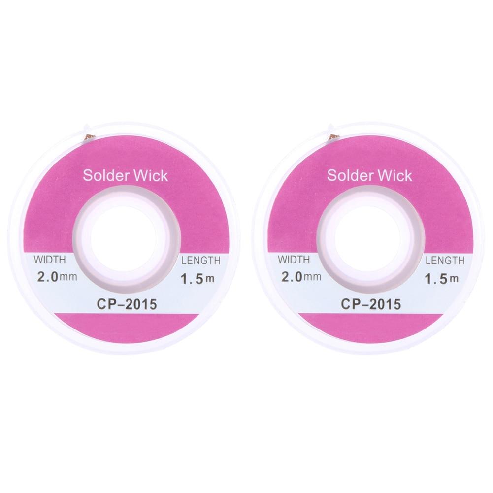 2PCS 1.5m X 2.0mm Copper Solder Wick Remover Desoldering Braid Solder Remover Sucker Flux Wick Cable
