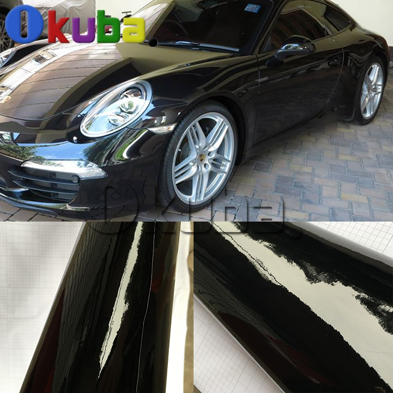 In All Sizes Bubble Free Gloss Black Vinyl Wrap Cars Adhesive Decal Film