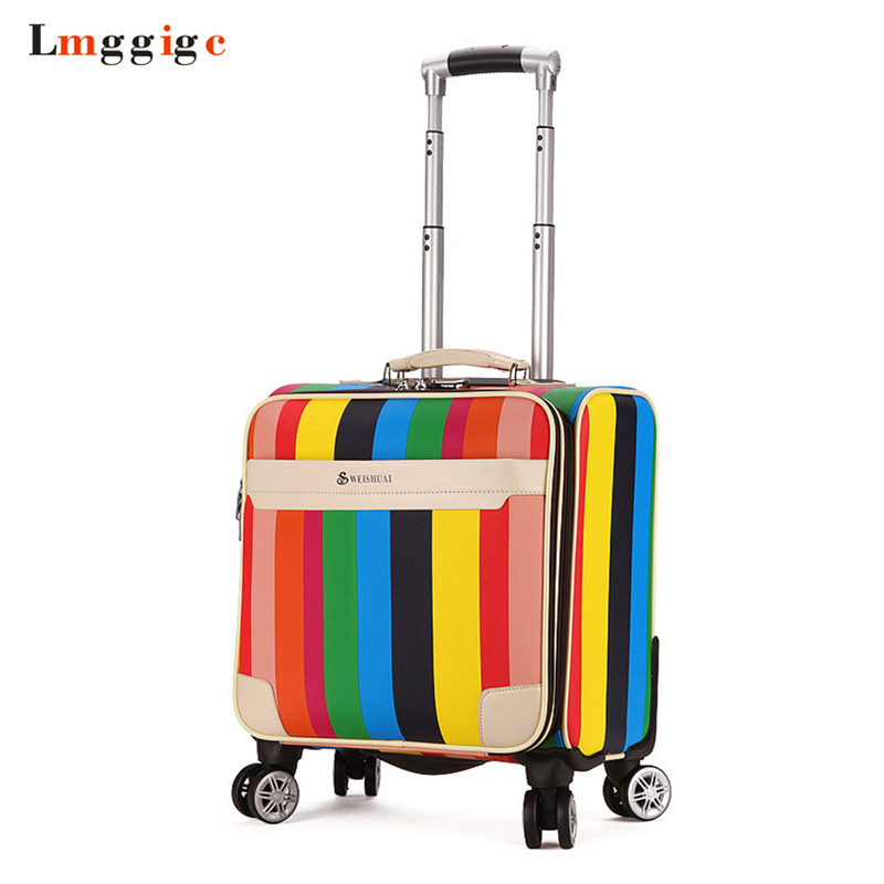 Rolling Luggage Cabin Bag,18 inch Suitcase with wheel,PU Trolley Case with Lock,Colorful Carry On Travel Box with laptop bag pagani design business casual leather men s watches fashion sport utility chronograph military watches relogio masculino 2016
