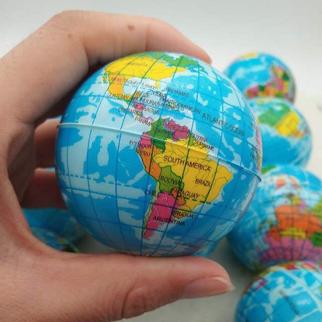 Anti Stress Relief World Map Foam Ball Atlas Globe Palm Ball Planet Earth  Ball Toys for Chrildren Girls boys 63mm 6pcs