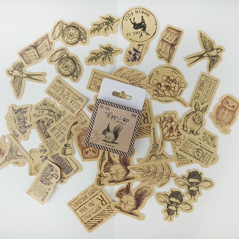 45 pcs Vintage Kraft paper rabbit owl tower sticker decorat diy diary scrapbooking sticker childrens favorite stationery gifts