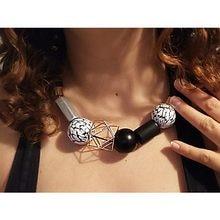 ea075187739f EManco declaración collar de joyería de moda minimalista étnicos  gargantillas collares mujeres blanco y negro cuentas de madera .