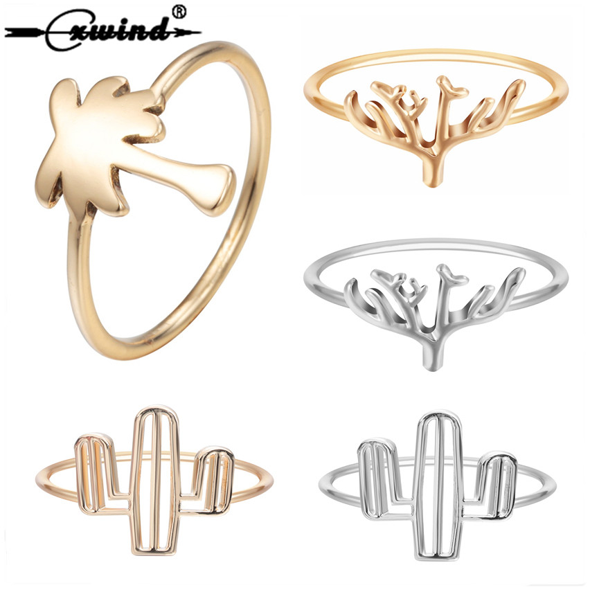 Capable Cxwind Fashion Plant Tropical Palm Tree Branch Rings For Women Girl Finger Knuckle Gold Wave Cactus Coconut Tree Ring Bijoux Relieving Heat And Sunstroke