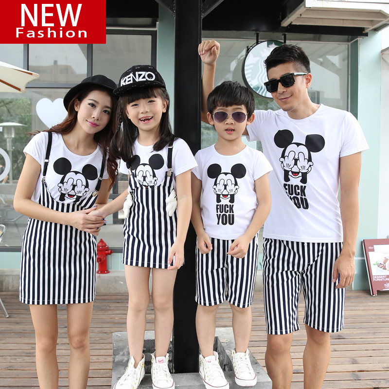 Summer New Stripe Cartoon Mickey Mother Daughter Strap Dress Family  Matching Outfits Super Cute Children Clothing Kids Girl Boy-in Matching  Family Outfits ... 83d4e5199